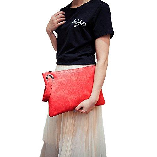 Tote Handbag Oversized Purse Wristlet Leather Retro Red Package Clutch Handbag PU Envelope Women Bag Evening Bag qvwEggxp