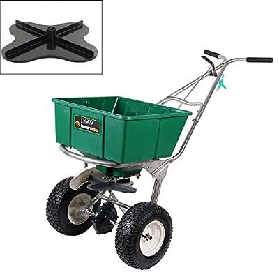 Lesco 101186 High Wheel Walk-Behind Fertilizer Spreader with Ultra Plus Impeller (Bundle, 2 Items)