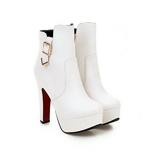 Altezza Donna Tacco Con Puro Stivali Bianco Cerniera Odomolor Alto Fibbia Bassa PR1fww