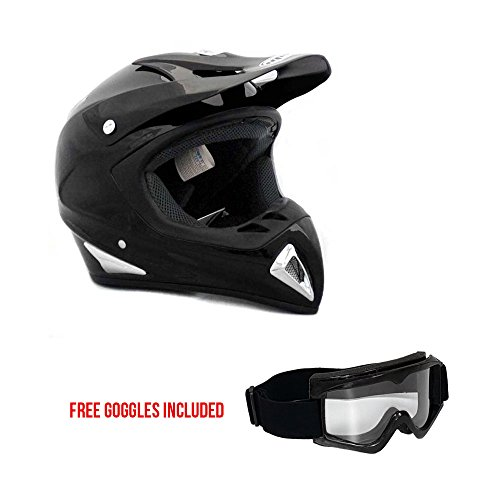 Adult Motorcycle Off Road Helmet DOT - MX ATV Dirt Bike Motocross UTV (S, Shiny Black). Includes Goggles by MMG