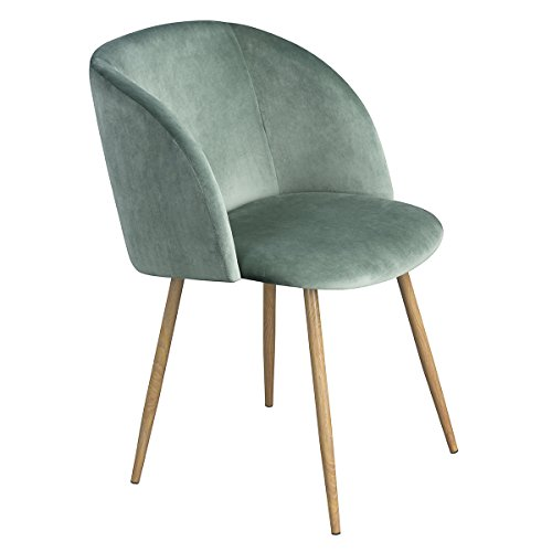 Mid Century Modern Silky Velvet Living Room Accent Armchair,Upholstered Club Chair Lounge Chair with Solid Steel Legs for Bedroom Reception Room Accent Furniture,Light Green - Upholstered Accent Chair