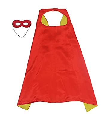 "LYNDA SUTTON DIY Drawing Superhero Cape For Kids/Adults colorful Costumes 1 Cape+1 Mask Double Sided 27.5"" L/43.3"" L"