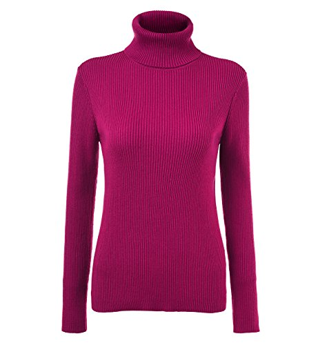 Easier Women's Cashmere/Lyocell Stretchy Turtleneck Long Sleeve Knit Pullover Sweater,Rose - Rose Sweater Pullover