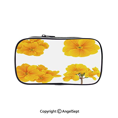 Cute Pencil Case - High Capacity,Gardening Themed Collection with Little Tender Primrose Primula Blossoms Decorative Mustard White 5.1inches,Multifunction Cosmetic Makeup Bag,Perfect Holder for Penci -