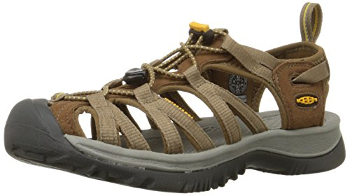 (KEEN Women's Whisper Sandal,Coffee Liqueur/Yellow,6.5 M US)