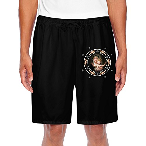Mens Holy Virgin Loves Child Angel Cupid Fashion Shorts Sweatpants Casual Shorts