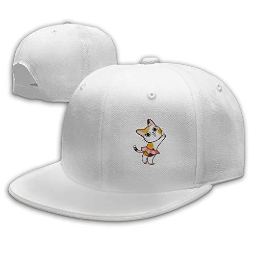 Sakanpo Dance Cat Flat Visor Baseball Cap, Designed Snapback Hat White