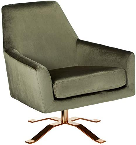 Christopher Knight Home Ailis Modern Velvet Swivel Club Chair with Gold Finished Steel Base, Grey Gold