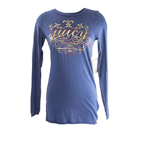 Juicy Couture Atlantic Blue Cotton Cameo Logo Long Sleeve T-Shirt Tee Size S