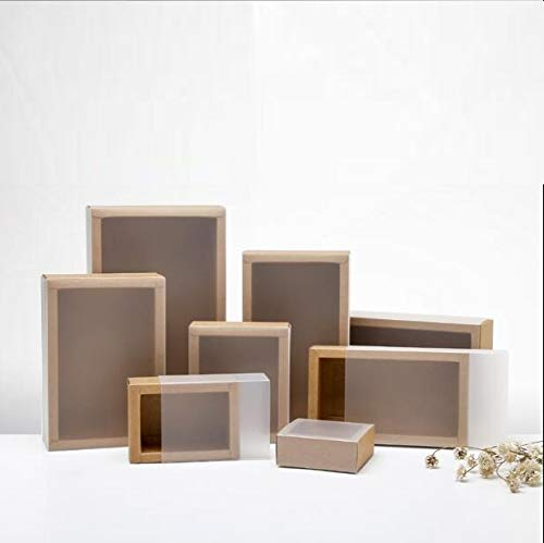 XLPD 10Pcs Brown Kraft Packaging Cardboard Drawer Box, 350Gsm Craft Packaging Gift Paper Boxes with Frosted Cover,Black Sliding Box Black 16.2x9.2x3.2cm -