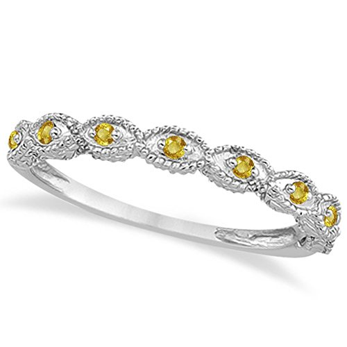 Antique Style Filigree Marquise Shape Yellow Sapphire Wedding Ring Palladium (Palladium Yellow Ring)