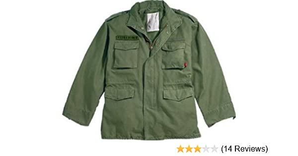Amazon.com  Olive Drab Military Vintage M-65 Field Jacket 8603 Size Large   Military Coats And Jackets  Clothing ec6f636367b