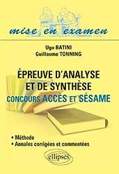 Épreuve d'Analyse et de Synthèse Concours ACCES et SÉSAME Méthode Annales Corrigées et Commentées