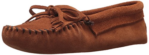 Minnetonka Women's Kilty Suede Softsole Moccasin,Brown,7.5 M US