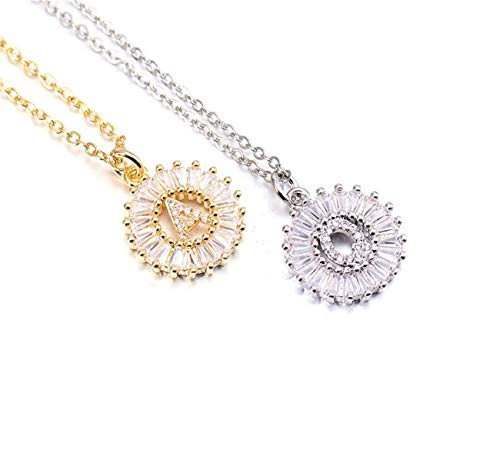 JOQSI Copper White Cubic Zirconia 26 Alphabet Letter Pendant Necklaces A-Z Initial Charm Chain Necklace Women Jewelry Collar Gold J ()