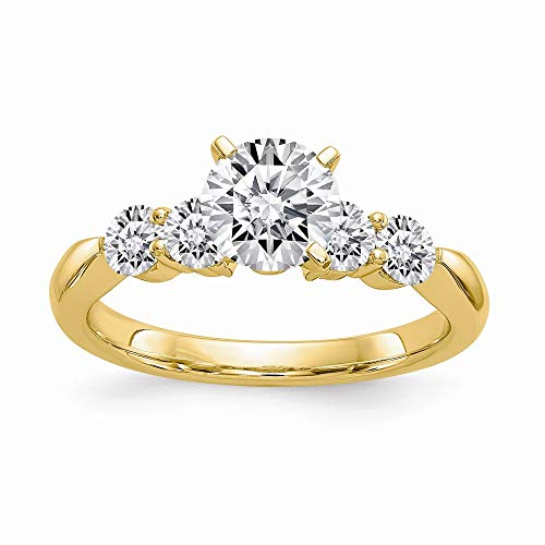 14ky 1.64ct. 5 Moissanite Ring, Size: 7, 14 kt Yellow Gold ()