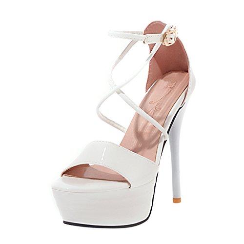 Sandalen Partykleid Schuhe Frauen Stiletto YE Hohe Heels Knöchelriemen Gericht Weiß Plateau qZzztP