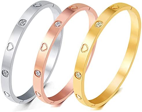 Christmas Gift MVCOLEDY Jewelry Gold /White Gold Plated Bangle Bracelet Heart Stone Stainless Steel with Crystal Bangle Bracelets for Women Jewelry Size 6.7 Inches