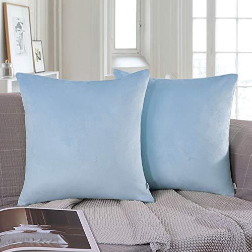 Ashler Pack of 2 Soft Velvet Decorative Throw Pillow Cushion Cover Sets Light Blue 18 X 18 inch45 X 45 cm