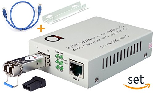 Single Mode LC Gigabit Fiber Media Converter - Includes LC SFP 20 km (12.42 Miles) LC – to UTP Cat5e Cat6 10/100/1000 RJ-45 – Auto Sensing Gigabit or Fast Ethernet Speed - Jumbo Frame - LLF Support by ADnet