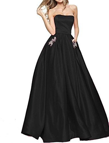 Weddder Strapless Long Formal Dresses Beaded Open Back A Line Satin Evening Prom Gown Black Long Size (Black Strapless Prom Dress)