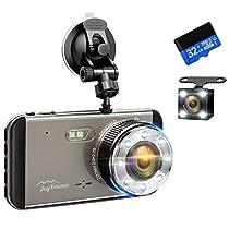 【2019進化版&フルHD1296P】 ドライブレコーダー 前後カメラ 32GB SDカード付き デュアルドライブレコーダー 1800万画素 170°広視野角 G-sensor WDR ドラレコ 4.0インチモニター ループ録画 リアカメラ付き 日本語説明書付き