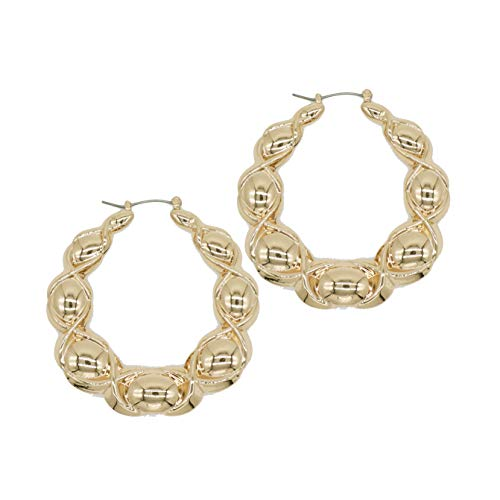 - Chemistry Gold Tone Hollow Casting Round Bamboo Hoop Earrings