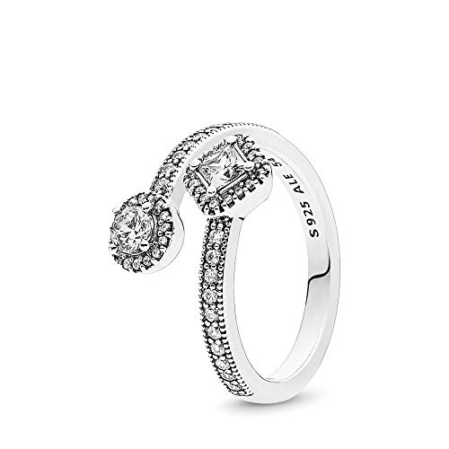 PANDORA Abstract Elegance Ring, Sterling Silver, Clear Cubic Zirconia, Size 7