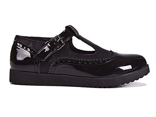 Mode Faux Size Noir Chaussures Cuir Lanière Plates T Geek Motif K772 3 8 Femmes En Babies Krush qxU6zqtvw