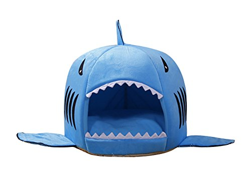 [Freerun Blue Shark Pet House with Removable Cushion Mat for Dogs and Cats Lovely Pet Bed - L] (Shark Dog Outfit)
