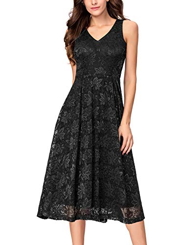 Noctflos Women's Lace V Neck Fit & Flare Midi Cocktail Dress for Wedding Guest Black