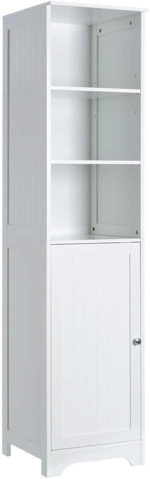 Armario de 1 Puerta y 2 baldas Minimalista Blanco de Madera DM para Cuarto de baño Vitta - LOLAhome