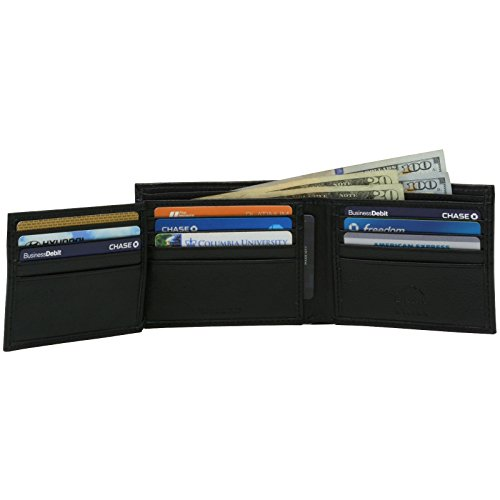 alpine swiss Men's Leather Flip out ID Wallet Bifold Black Wide 2 Bill Sections, Divided Bill Section, One Size