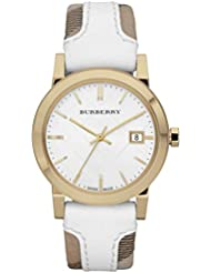 Burberry Womens BU9110 Large Check Leather Strip On Fabric Watch