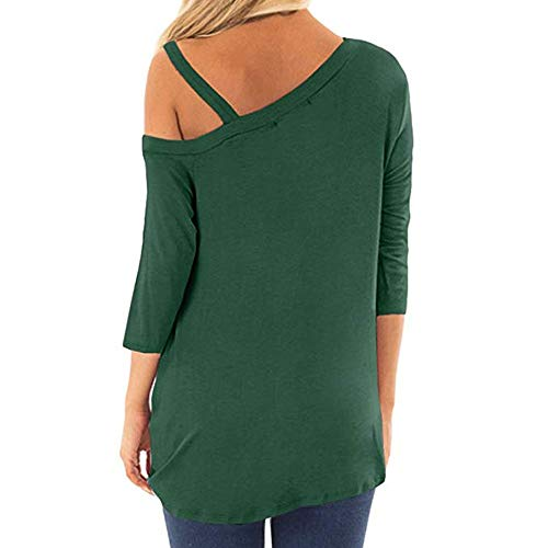iQKA Women Oblique Off Shoulder Tee Shirt 3/4 Sleeve Knot Blouse Tunic Top(Green,Medium by iQKA (Image #2)