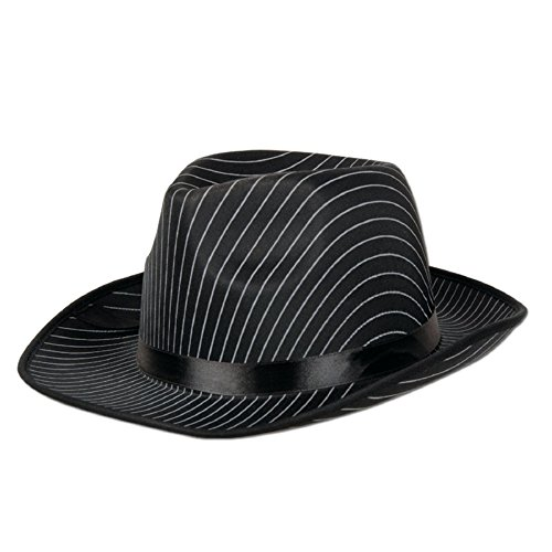 Pack of 12 Black Satin Band White Pinstripes Gangster Novelty Hat by Party Central