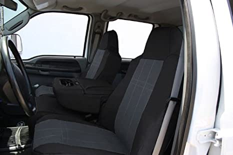 DuraPlus Charcoal Insert and Black Trim CalTrend Front Row Bucket Custom Fit Seat Cover for Select Nissan Frontier//Xterra Models