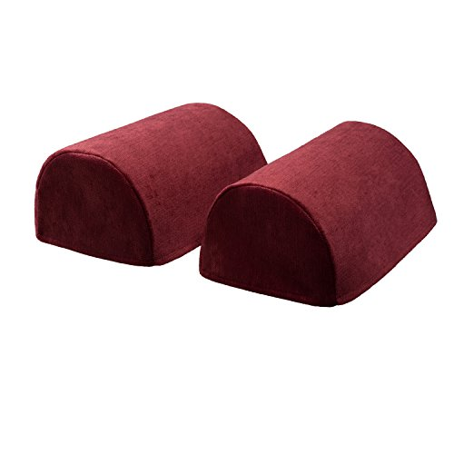 Classic Home Store Chenille Pair of Standard Round Arm Caps Plain Soft Touch Sofa Furniture Cover Antimacassar - Classic Sofa Chenille