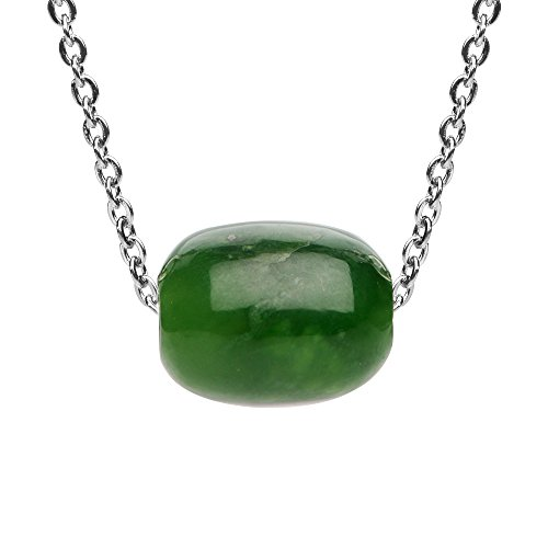iSTONE Natural gemstone Green Jasper Barrel Bead Pendant Necklace for Peace and Luck 18 Inch Chain