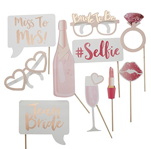 Ginger Ray Hen Party Rose Gold Team Bride Photo Booth Props Alternative Game - Team Bride