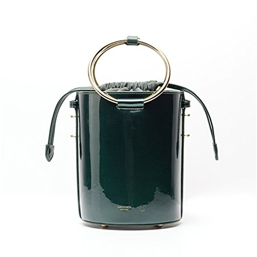 Leather Ring Barrel Handle Top Bucket Fashion shaped Bags Split Green Bag Angels Handbag amp;demons xqA6wqYU