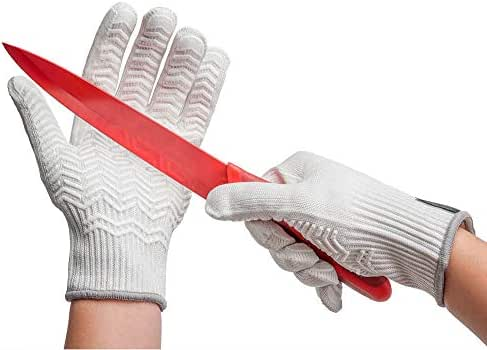 Schwer Cut Resistant Safety Work Gloves with Rubber Grip Stripe Food Grade Durable Functional Level 6 Protection for Gardening Food Processing Building and Warehouse Working, Tacky Grip (Large)