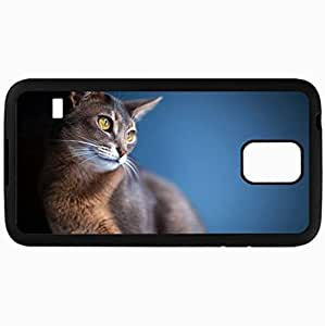 Fashion Unique Design Protective Cellphone Back Cover Case For Samsung GalaxyS5 Case Cat Eyes Ears Blurred View Background Black