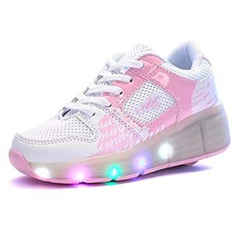 Sollomensi Zapatillas con Ruedas Sola Ronda Para Skate Zapatos Deportivas con Luces LED Niños Mujer Hombre-Rosa 34