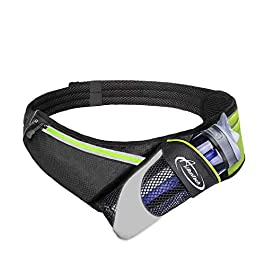 AiRunTech Upgraded No Bounce Hydration Belt for Men Women Running Belt with Water Bottle Holder with Large Pocket Fits Most Smartphones