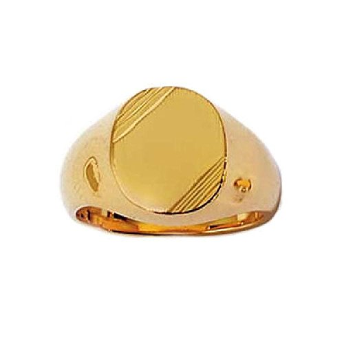 So Chic Jewels - 18k Gold Plated Oval Signet Ring - Customisable: Your Message Engraved Free - Size 12.5 - Engraved Message Ring