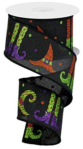 Glitter Witch Legs & Hats Wired Edge Ribbon, 2.5
