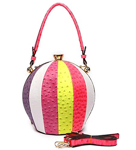 Cowgirl Trendy Ostrich Embossed Large Round Satchel w/Strap- 4 Multi Colors (Multi Fuchsia)