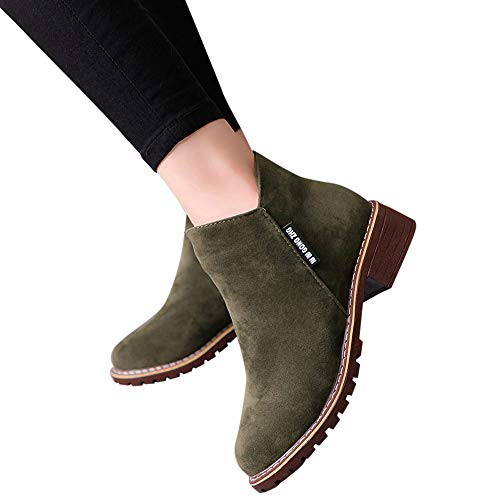 Outtop(TM) Women Fashion Short Ankle Booties Lady Winter Leather Martain Boots Shoes Sneakers (US:7.5, Army Green)