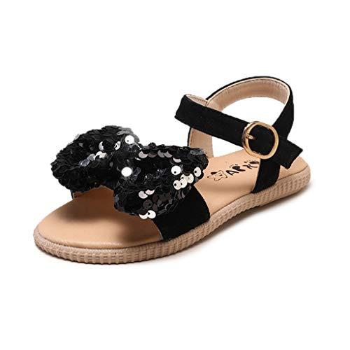 RespctfulPrincess Sandals for Baby Girls Open Toe Cute Bow Non Slip Flat Strap Summer Sandals Black
